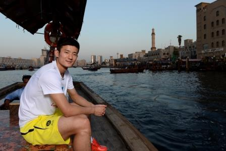 World champion Chen Long on the Dubai Creek during his visit to the Emirate ©BWF