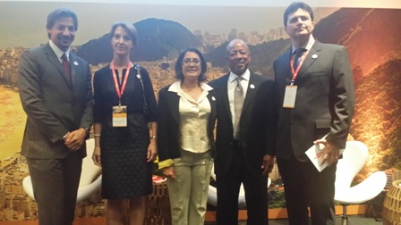 Tania Braga, Rio 2016's head of sustainability, accessibility and legacy, pictured (centre) after the announcement in September of Dow Chemical Company as the Games's official Carbon Partner. Now Rio 2016 has put up its carbon emissions target in terms of mitigation  ©Dow Chemical