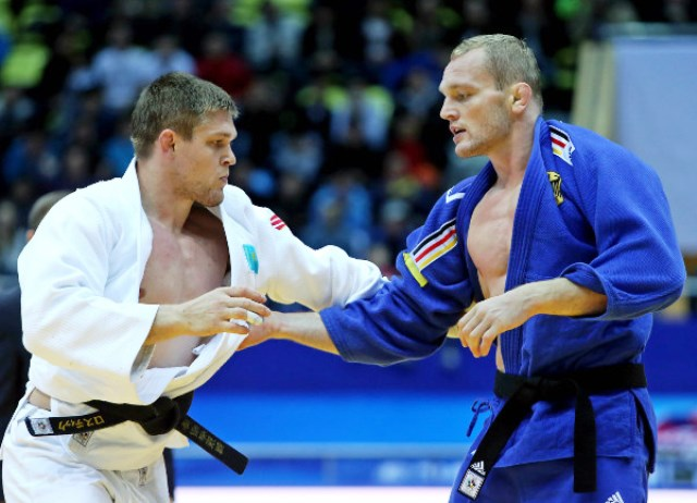 Maxim Rakov (left) won gold for Kazakhstan on the final day of action at the judo Grand Prix in Astana ©IJF