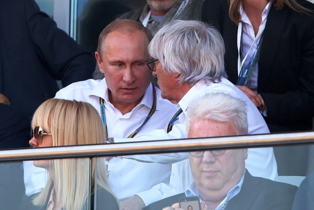 Russian President Vladimir Putin watched the closing stages of today's Grand Prix in Sochi with Formula One supremo Bernie Ecclestone ©Getty Images