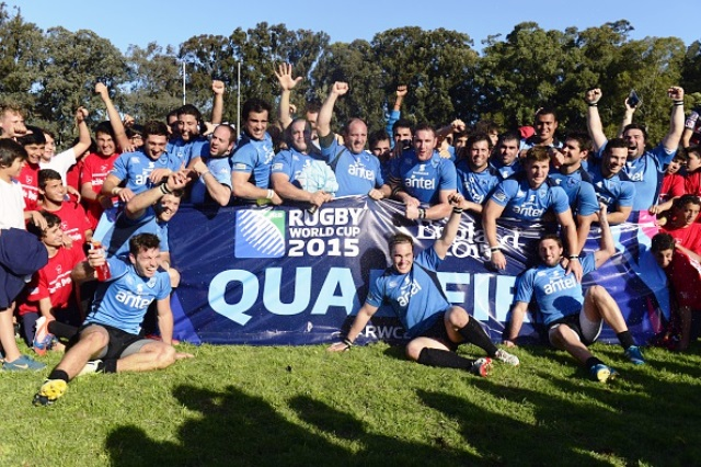 Uruguay celebrate clinching a third appearance at a Rugby World Cup ©AFP/Getty Images