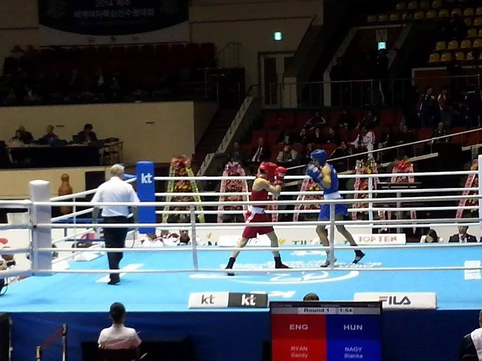 ngland's Sandy Ryan showed impressive form in the opening session of the Women's World Boxing Championships in Jeju City by beating Hungary's European Union champion Bianka Nagy in the opening round of the light welterweight division ©AIBA
