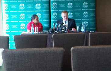 AOC President John Coates and sprinting legend Cathy Freeman announcing the historic change this morning ©Twitter