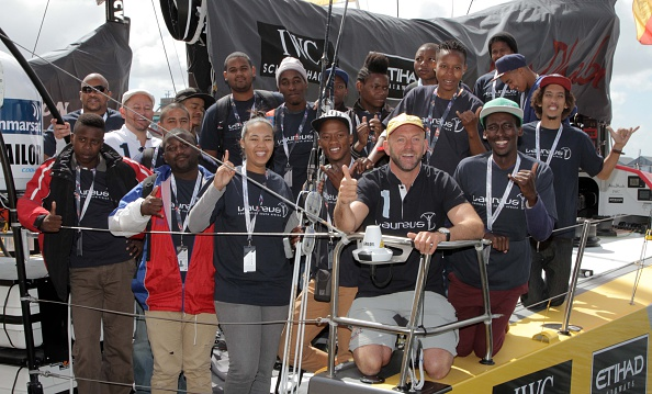 A week after victory at the first leg of the Volvo Ocean Race, Walker welcomed a group of young people from Laureus-supported community projects in Cape Town on board the Abu Dhabi Ocean Racing yacht Azzam ©Getty Images