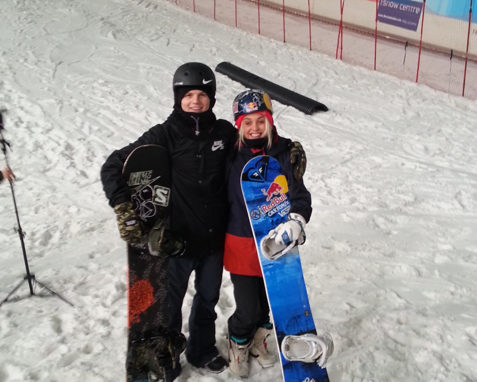 Aimee Fuller and Jamie Nicholls joined snowboarding hopefuls at the Snow Centre in Hemel Hempstead today ©ITG