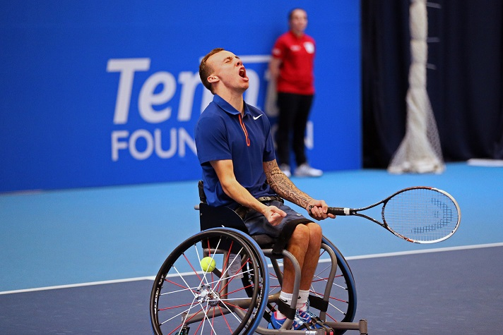 Andy Lapthorne defeated Lucas Sithole 7-5, 6-1 in today's action at the Wheelchair Tennis Masters ©James Jordan