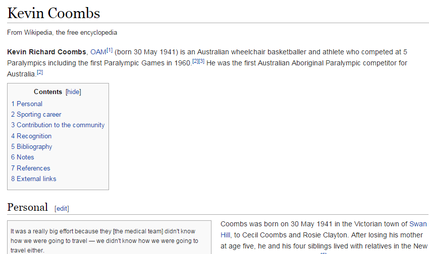 Articles about athletes including five time Paralympian Kevin Coombs have proved popular ©Wikipedia