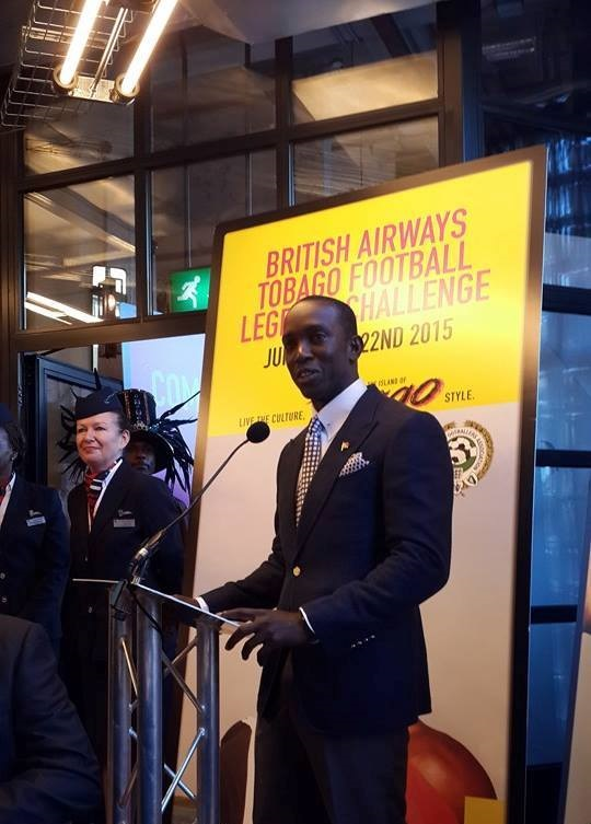 Dwight Yorke was speaking at the launch of the British Airways Tobago Football Legends Challenge in London ©ITG
