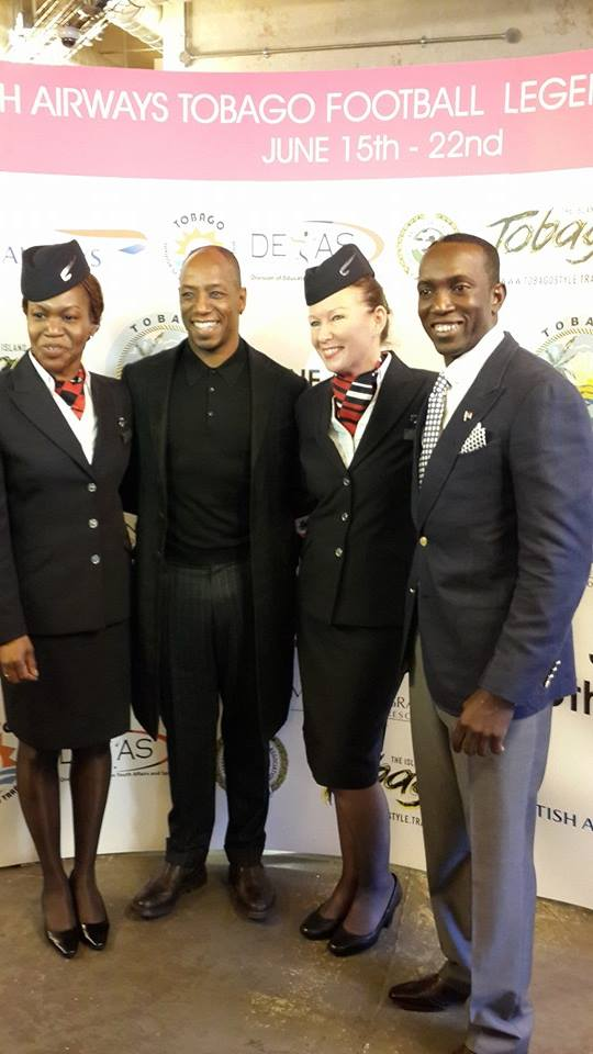 Former Arsenal striker Ian Wright (centre, left) and Dwight Yorke (right) with British Airways representatives at the launch of British Airways Tobago Football Legends Challenge ©ITG