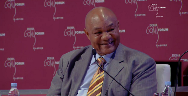 George Foreman was the star of the show as the 2014 Doha GOALS Forum was officially launched ©DohaGoals