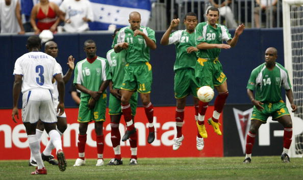 Guadeloupe's national football team pictured facing Honduras in the 2007 CONCACAF Gold Cup. They reached the semi-finals ©Getty Images