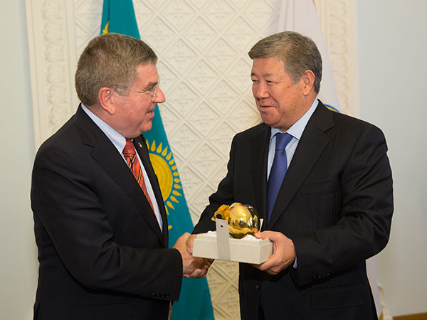 IOC President Thomas Bach visited Almaty last month, meeting with Mayor Akhmetzhan Yessimov. But the Kazakh bid has remained very low key since ©IOC
