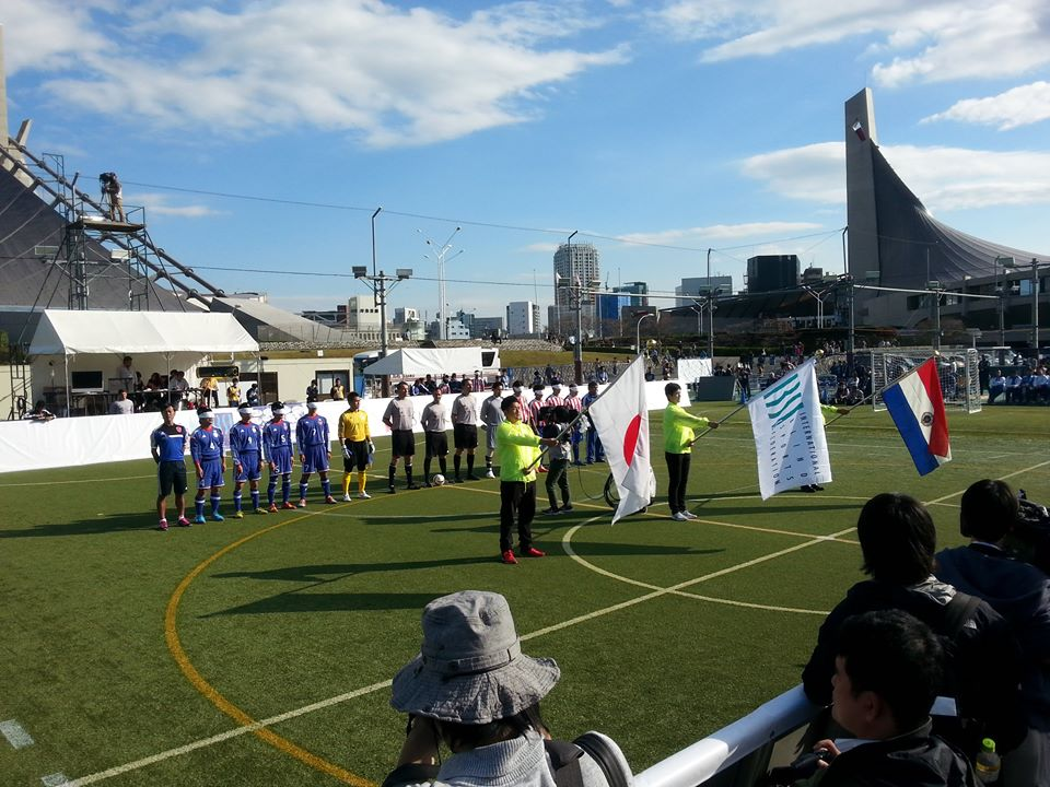 Japan and Paraguay line up before their encounter ©IBSA