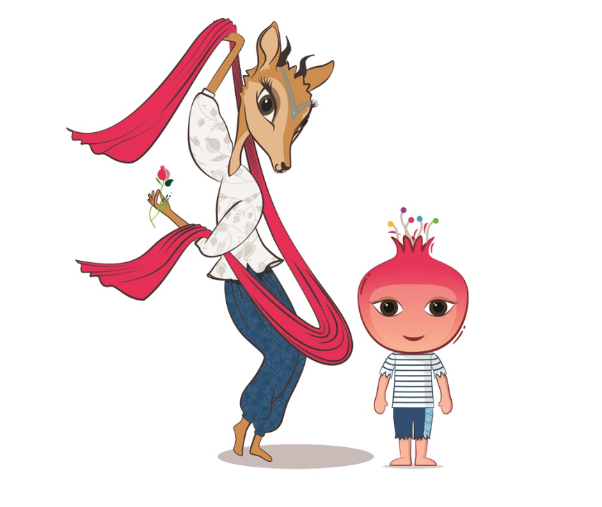 Jeyran the gazelle and Nar the pomegranate have been unveiled as the Baku 2015 mascots ©Baku 2015
