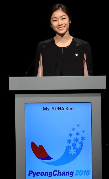 Kim Yuna addressing the  IOC in Durban during the winning Pyeongchang 2018 bid presentation ©Getty Images