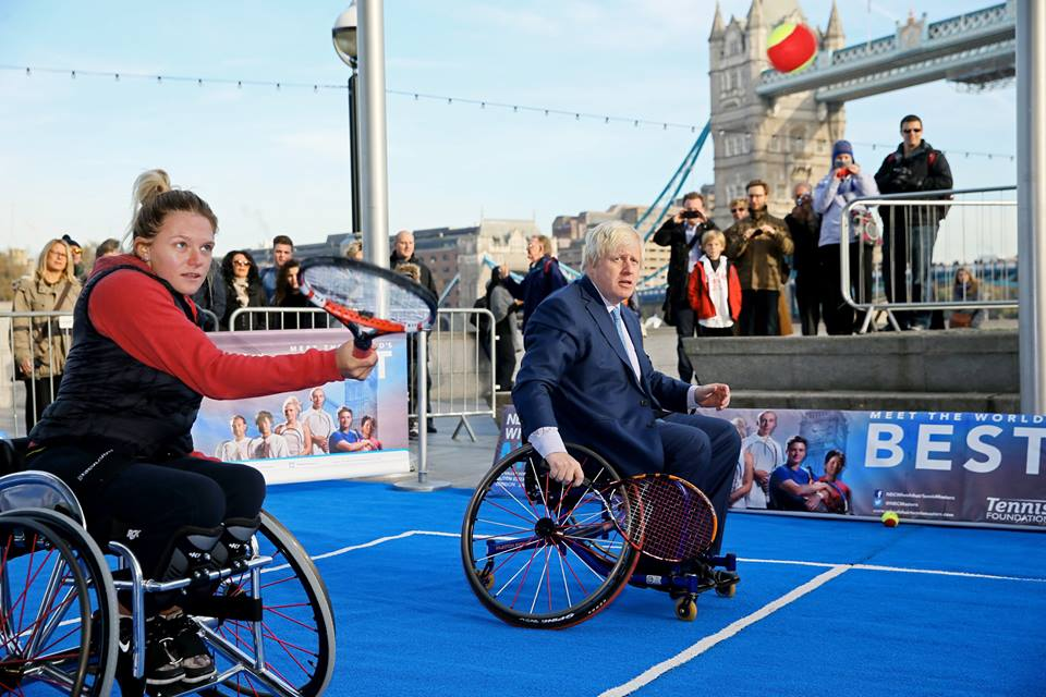 London Mayor Boris Johnson joins Jordanne Whiley at a mini tennis match in London ©Facebook