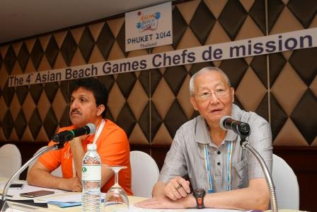OCA official Wei Jizhong (right) has reminded all NOCs of the importance of the Asian Beach Games ©Phuket 2014