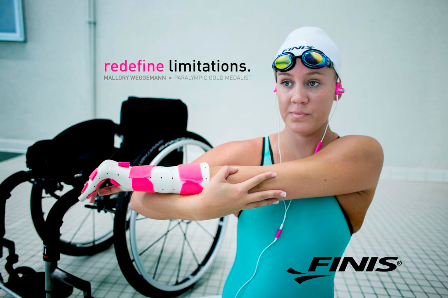 "Paralympic swimming champion Mallory Weggemann is said to have continued to ""Redefine Limitations"" ©Finis"