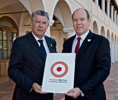 Prince Albert II of Monaco (right) with Joël Bouzou, President of the World Olympians Association, at the Grimaldi Palace ©WOA