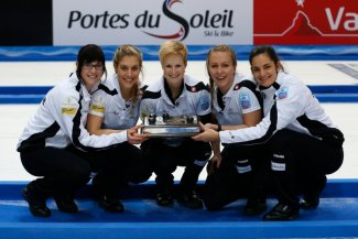 Switzerland's women celebrate gold at the Le Gruyere European Curling Championships ©WCF/Richard Gray