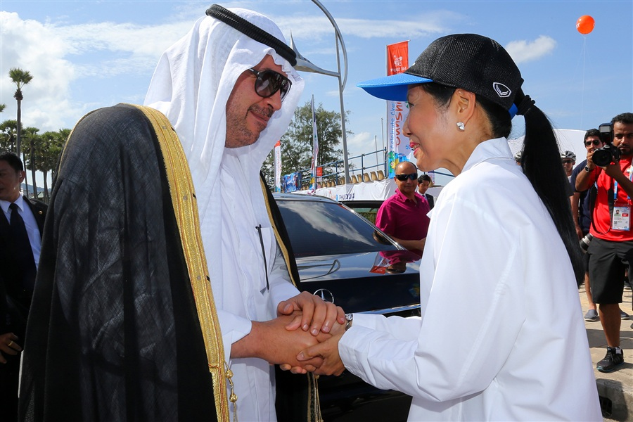 Thailand's Minister of Tourism and Sports Kobkarn Wattanavrangkul greets OCA President Sheikh Ahmad Al Fahad Al Sabah this morning ©Phuket 2014