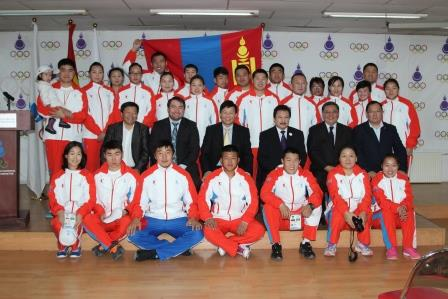 The Mongolian delegation pose ahead of the Asian Beach Games in Phuket ©Mongolia NOC