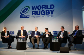 The five-strong panel was moderated by BBC World's David Eades (right) ©Getty Images