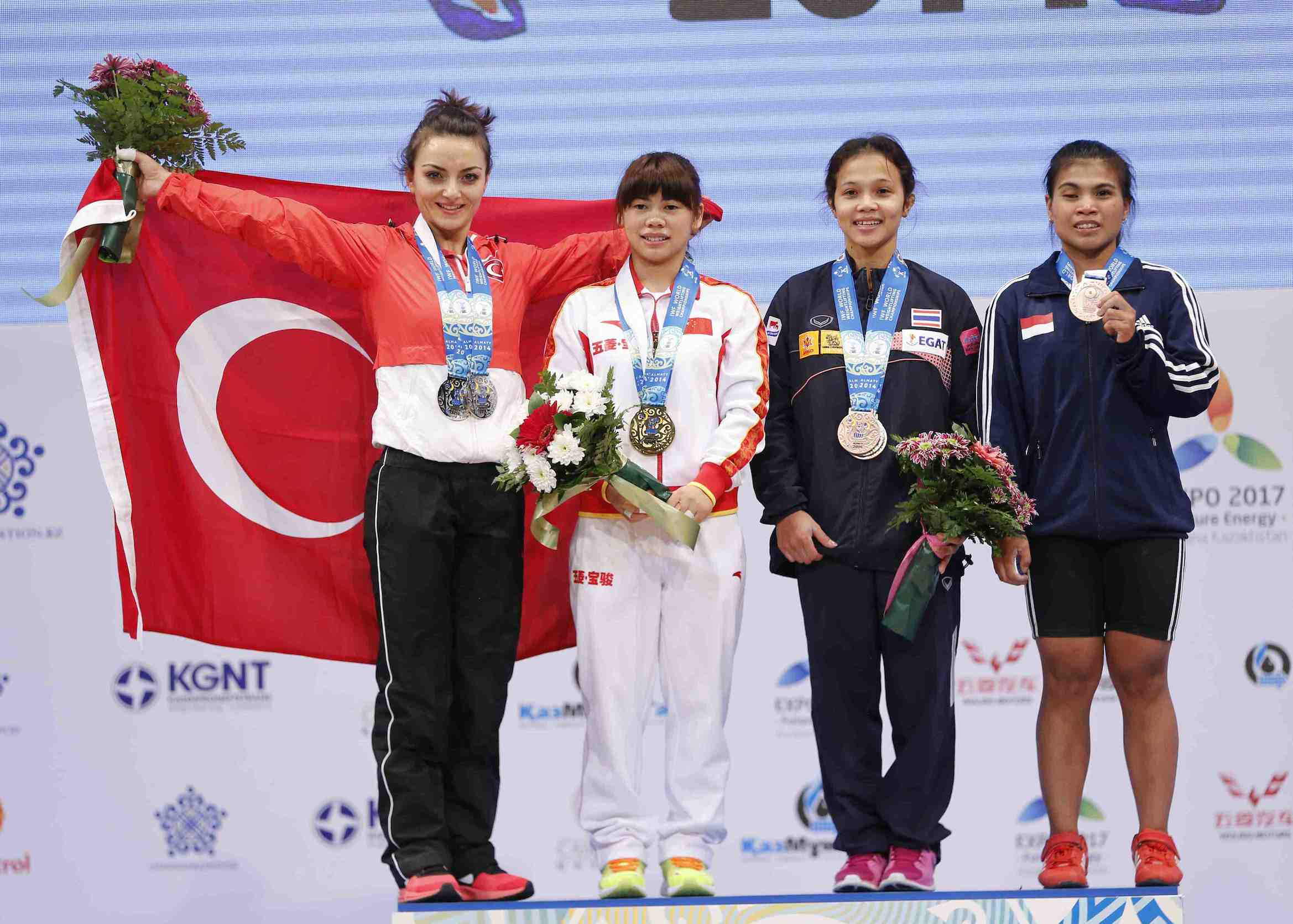 There was heartbreak for Sibel Ozkan Konak (left) who was beaten into second place for the seventh time ©Almaty 2014