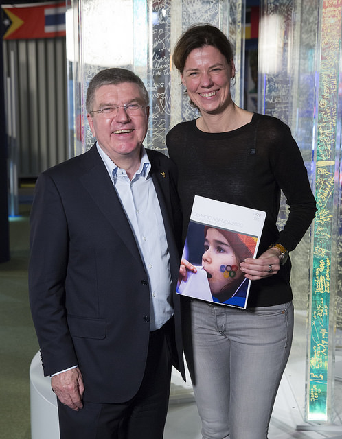 Claudia Bokel, chair of the IOC Athletes' Commission, was among the first to hear from Thomas Bach about his new Agenda 2020 proposals ©IOC