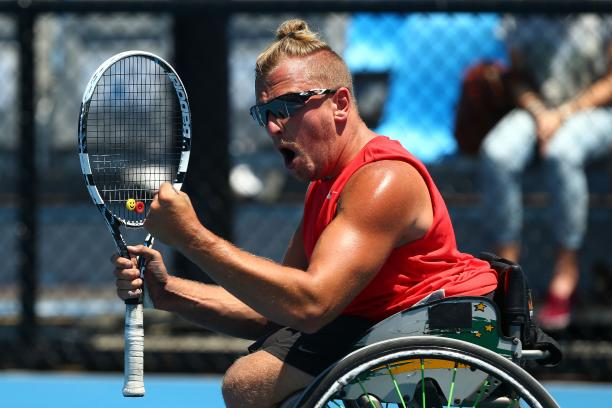 Wheelchair tennis star Dylan Alcott is attempting to play for 24 hours straight for charity ©Getty Images