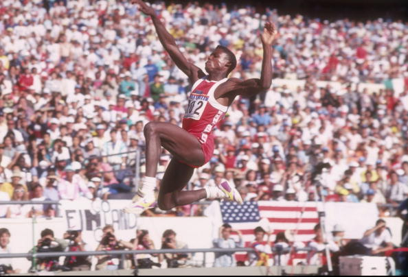 Carl Lewis, multiple Olympic champion, competing in the long jump at the 1988 Seoul Olympics, the year when he received the first-ever IAAF Men's World Athlete of the Year ©Getty Images