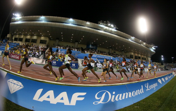 The women's 1500m in progress at the 2013 IAAF Diamond League meeting in Doha, where temperatures were greater than will be the case during the 2019 World Championships, the Doha bid team assured the IAAF ©Getty Images