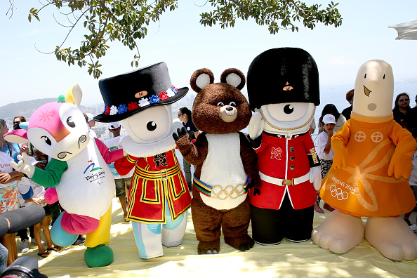 Past Olympic mascots gathered in Rio and met with children ahead of the Rio 2016 launch - pictured from left are Fu Niu Lele (Beijing 2008), Mandeville (London 2012), Misha (Moscow 1980), Wenlock (London 2012), Athene (Athens 2004) ©Getty Images