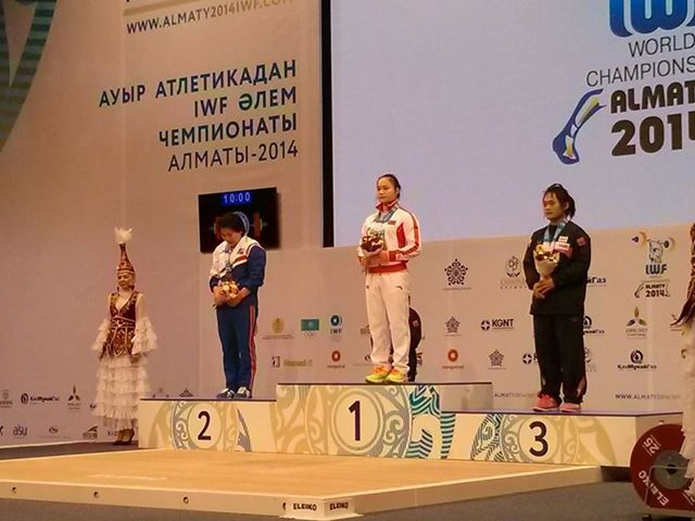China's Mengrong Deng missed a gold medal in both the snatch and the clean-and-jerk in the women's 58 kilogram, but won the overall title at the World Weightlifting Championships in Almaty ©IWF