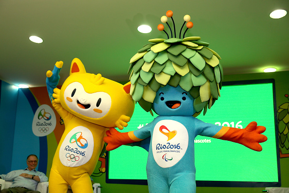 The newly unveiled mascots for the Rio 2016 Olympics (left) and Paralympics ©Getty Images