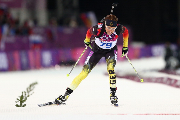 Evi Sachenbacher-Stehle of Germany competing at the Sochi Winter Games, from which she was ejected after a positive doping test ©Getty Images