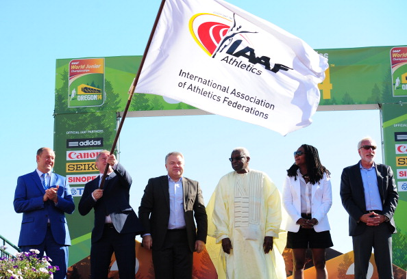 IAAF President Lamine Diack attends the closing ceremony at this year's World Junior Championships in Oregon. Bids for the 2018 version will get underway next year with the help of a new dedicated IAAF website ©Getty Images