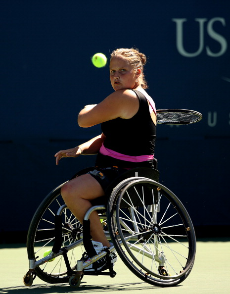 Aniek Van Koot took the women's title at the NEC Wheelchair Tennis Masters and earned a spot on the Allianz Athlete of the Month poll for November 2014 ©Getty Images