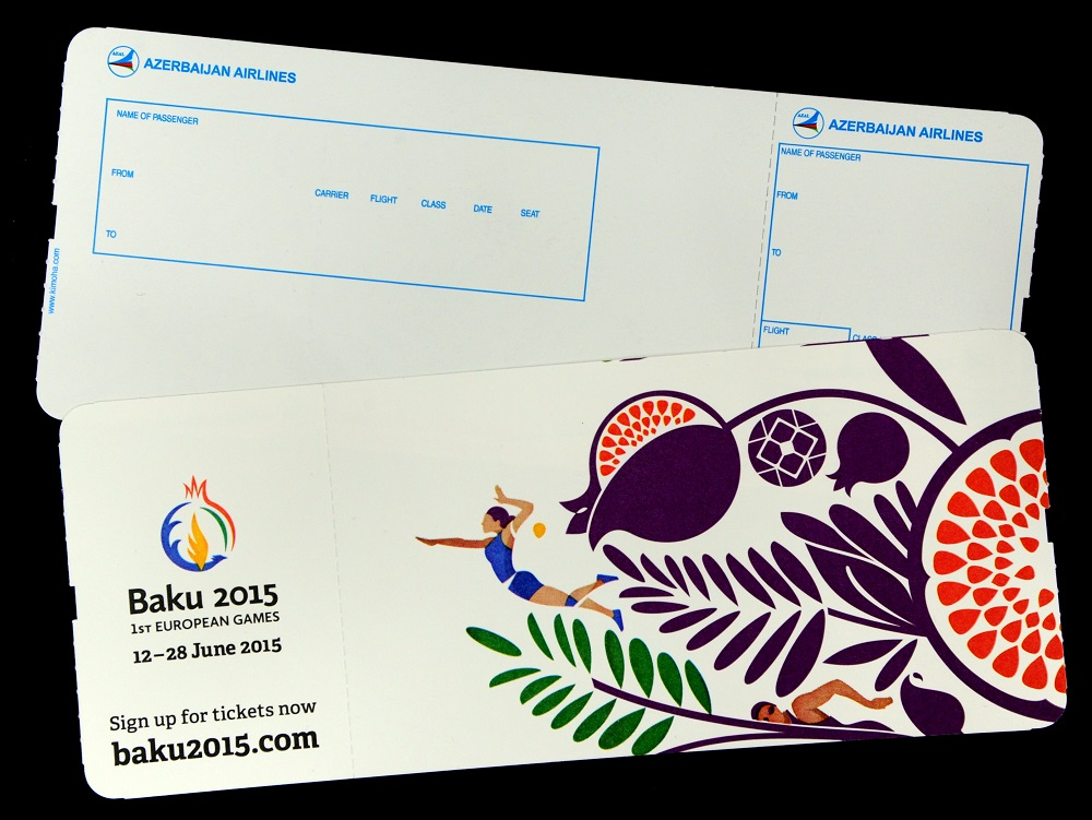 Azerbaijan Airlines boarding passes will show the Baku 2015 logo ©Baku 2015