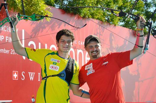 Brady Ellison (right) and Marcus Dalmeida will clash again for World Archer of the Year ©World Archery