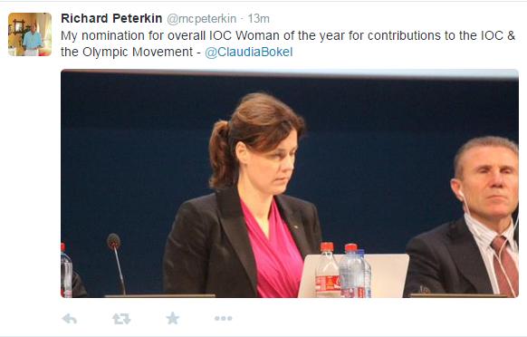 Claudia Bokel is the subject of Richard Peterkin's latest tweet ©Twitter
