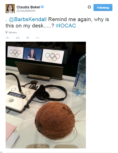 Claudia Bokel posts the first IOC member photo-tweet of the morning ©Twitter