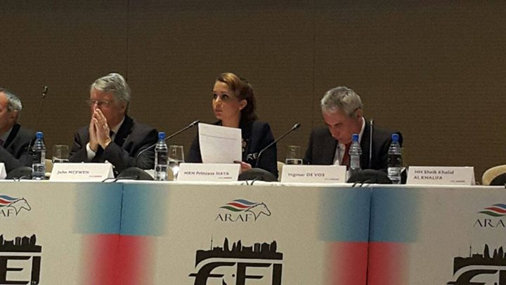 Princess Haya Bint Al Hussein (centre) is stepping down after leading the FEI for two terms and will be succeeded by Ingmar De Vos (right), the world governing body's secretary general, who beat three other candidates, including John McEwen (left) ©FEI