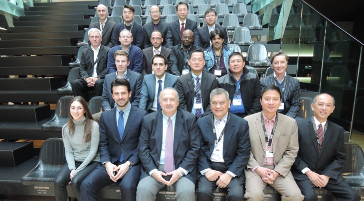 FIBA President Horacio Muratore (front, third from left) with the delegations of the six countries on the shortlist to stage the 2019 and 2023 editions of the Basketball World Cup ©FIBA