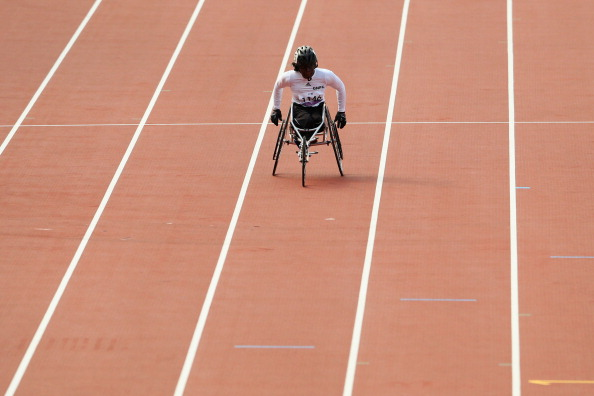 Gambian 800 metres wheelchair racer Isatou Nyang of Gambia competing during the women's T54 heats at London 2012 ©Getty Images