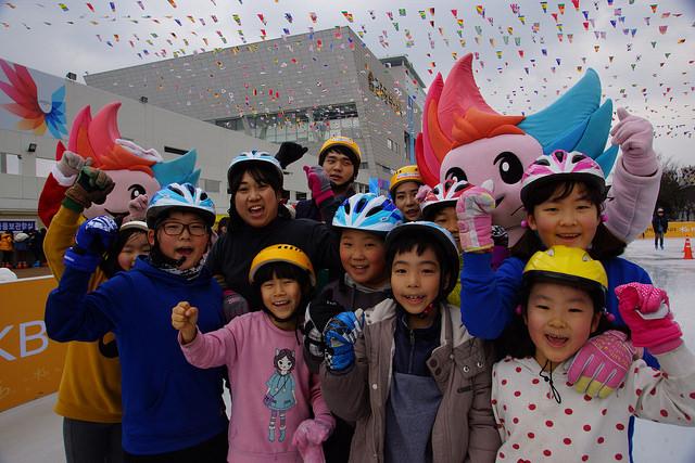 Gwangju 2015 organisers were at the opening of the the Gwangju Square Ice Skating Rink to promote next years Games ©Gwangju 2015