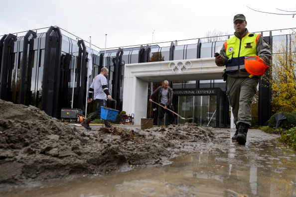 The IOC headquarters in Lausanne during the floods of 2012