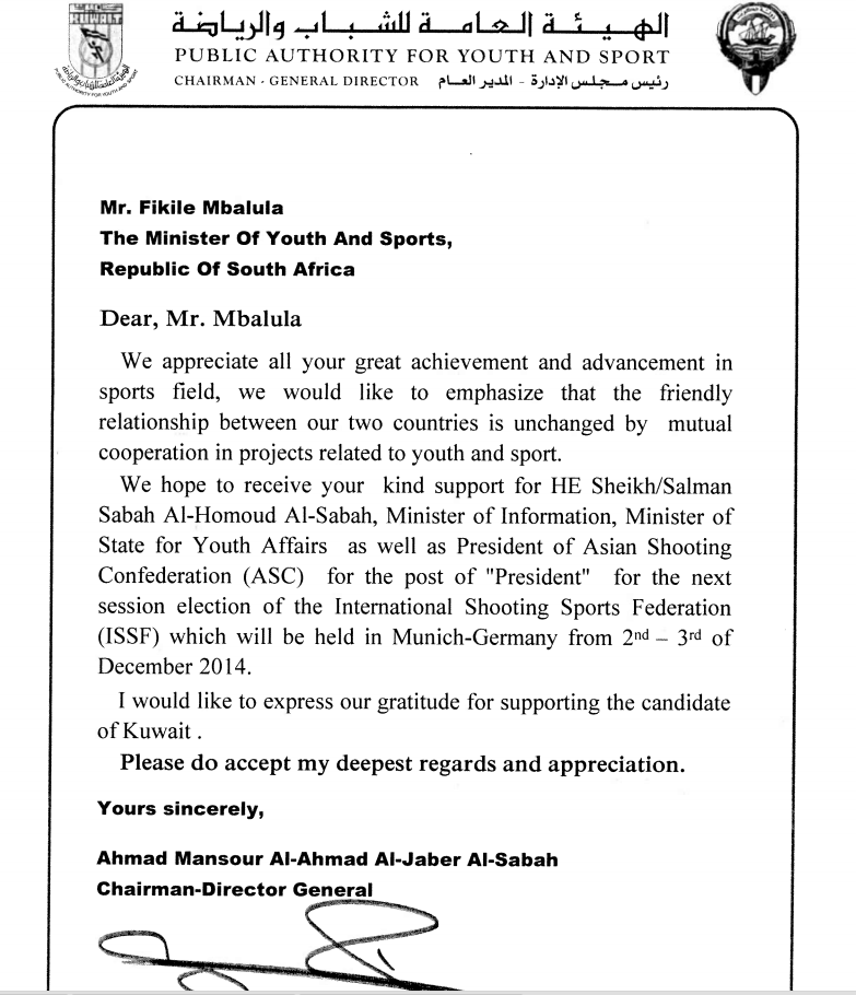 Sports Ministers around the world have been contacted by a Kuwaiti Government department urging them to support Sheikh Salman Sabah Al-Salem Al-Homoud Al-Sabah's candidature for the ISSF President ©ITG