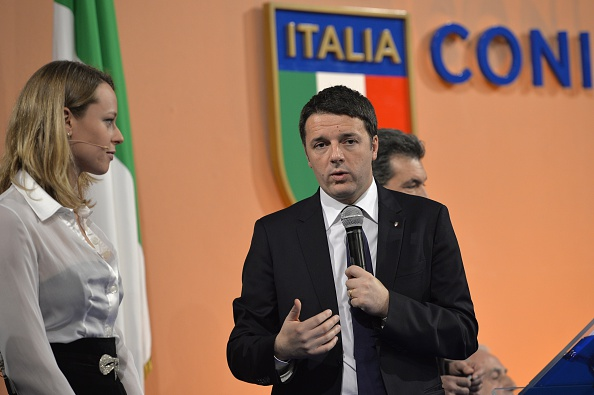 Italian swimmer Federica Pellegrini was alongside Matteo Renzi at the unveiling today ©AFP/Getty Images