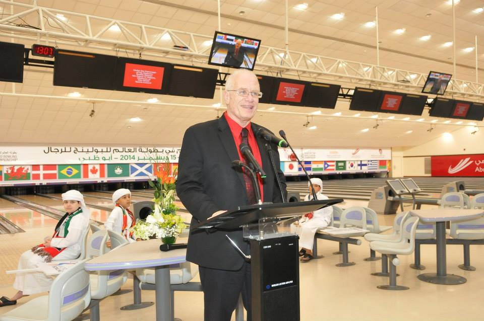 World Bowling President Kevin Dornberger made a speech during the Opening Ceremony at the Khalifa International Bowling Centre in Zayed Sports City ©World Bowling
